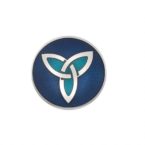 Celtic Trinity Brooch Blue Silver Plated Brand New Gift Packaging